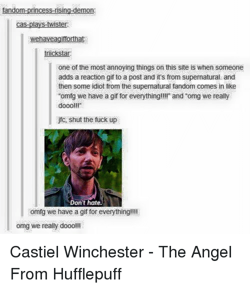 "Gif, Memes, and Angel: tandom-princess-rising-demon  cas-plays-twister  wehaveagiforthat  icksta  one of the most annoying things on this site is when someone  adds a reaction gif to a post and it's from supernatural and  then some idiot from the supermatural fandom comes in like  ""omfg we have a gif for everything!!!! and ""omg we really  doooll!  jfo, shut the fuck up  Don't hate.  omfg we have a gif for everything!!!!  omg we really dooo!!! Castiel Winchester - The Angel From Hufflepuff"