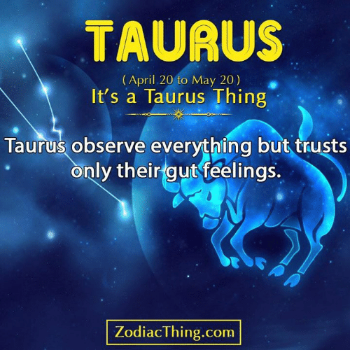 Taurus, April, and Com: TAURUS  (April 20 to May 20)  It's a Taurus Thing  Taurus observe everything but trusts  only their gut feelings.  ZodiacThing.com