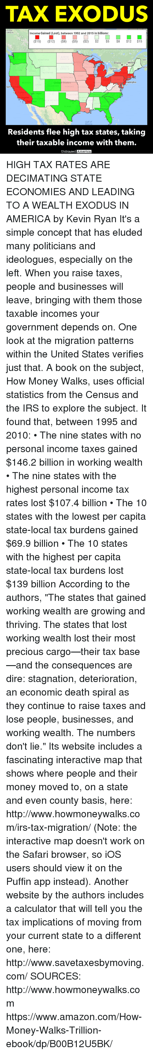 """Amazon, America, and Irs: TAX EXODUS  ITISH  UMBIA  Income Gained (Lost), between 1992 and 2015 in billions:  ($15)  ($12)  ($8) ($5) ($2)  $2  $5  $8  $12  $15  NORTH  DAKOTA  NB  NNESO  Montr  Ottawa  SOUTH  VISCON  NOV  Toronto  DAKO  OREGON  DAHO  NEBRASKA  PENN  Unite  States  iladelphia  NEVADA  LORADO  San  KANSAS  SSOUR  LIFORN  s Vegas  NORTH  ENNESSEE  AROL  geles  ARIZONA  TEXAS  EORG  On  FOR  Gulf of  Residents flee high tax states, taking  their taxable income with them.  biased America, HIGH TAX RATES ARE DECIMATING STATE ECONOMIES AND LEADING TO A WEALTH EXODUS IN AMERICA by Kevin Ryan  It's a simple concept that has eluded many politicians and ideologues, especially on the left.  When you raise taxes, people and businesses will leave, bringing with them those taxable incomes your government depends on.  One look at the migration patterns within the United States verifies just that.  A book on the subject, How Money Walks, uses official statistics from the Census and the IRS to explore the subject.  It found that, between 1995 and 2010:  • The nine states with no personal income taxes gained $146.2 billion in working wealth • The nine states with the highest personal income tax rates lost $107.4 billion • The 10 states with the lowest per capita state-local tax burdens gained $69.9 billion • The 10 states with the highest per capita state-local tax burdens lost $139 billion  According to the authors, """"The states that gained working wealth are growing and thriving. The states that lost working wealth lost their most precious cargo—their tax base—and the consequences are dire: stagnation, deterioration, an economic death spiral as they continue to raise taxes and lose people, businesses, and working wealth. The numbers don't lie.""""  Its website includes a fascinating interactive map that shows where people and their money moved to, on a state and even county basis, here:  http://www.howmoneywalks.com/irs-tax-migration/ (Note: the interactive map doesn't"""