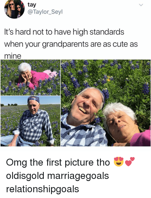 Cute, Memes, and Omg: tay  @Taylor_Seyl  it's hard not to have high standards  when your grandparents are as cute as  mine Omg the first picture tho 😍💕 oldisgold marriagegoals relationshipgoals
