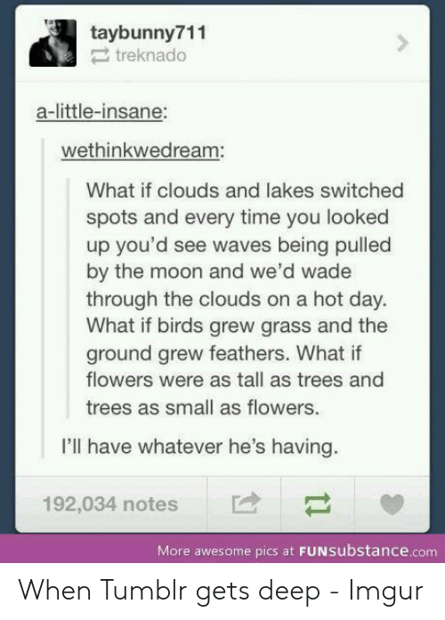 Tumblr, Waves, and Birds: taybunny711  treknado  a-little-insane:  wethinkwedream:  What if clouds and lakes switched  spots and every time you looked  up you'd see waves being pulled  by the moon and we'd wade  through the clouds on a hot day.  What if birds grew grass and the  ground grew feathers. What if  flowers were as tall as trees and  trees as small as flowers.  I'll have whatever he's having.  192,034 notes  More awesome pics at FUNSubstance.com When Tumblr gets deep - Imgur