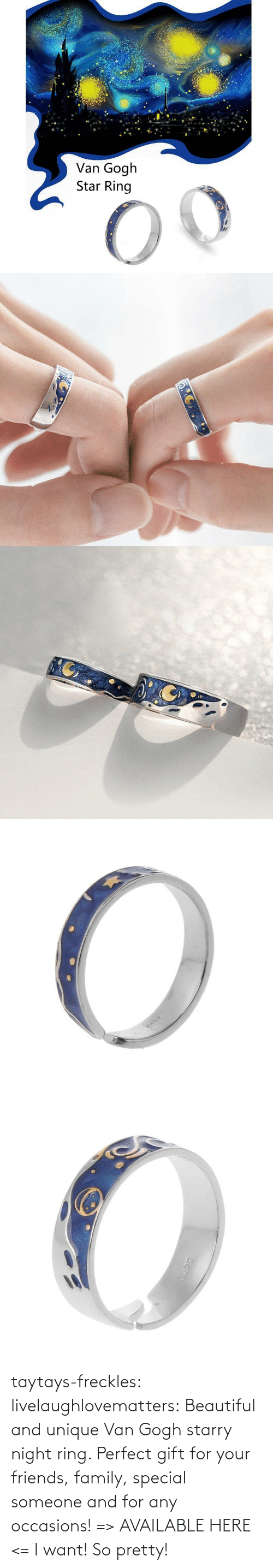 So Pretty: taytays-freckles: livelaughlovematters:  Beautiful and unique Van Gogh starry night ring. Perfect gift for your friends, family, special someone and for any occasions! => AVAILABLE HERE <=    I want! So pretty!