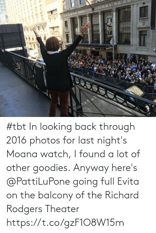 Lot: #tbt In looking back through 2016 photos for last night's Moana watch, I found a lot of other goodies. Anyway here's @PattiLuPone going full Evita on the balcony of the Richard Rodgers Theater https://t.co/gzF1O8W15m