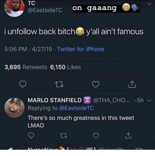 Bitch, Iphone, and Lmao: TC  on gaaang  @EastsideTC  i unfollow back bitch  y'all ain't famous  5:06 PM 4/27/19 Twitter for iPhone  3,695 Retweets 6,150 Likes  MARLO STANFIELD @THA CHO... 5h  Replying to @EastsideTC  There's so much greatness in this tweet  LMAO  : 1 OHoortRr  Nurcolauo  11h