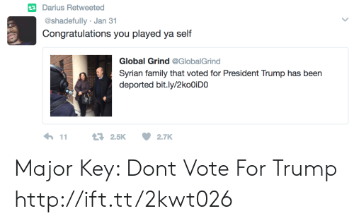 major key: tDarius Retweetea  @shadefully Jan 31  Congratulations you played ya self  Global Grind @GlobalGrind  Syrian family that voted for President Trump has been  deported bit.ly/2koOiDO Major Key: Dont Vote For Trump http://ift.tt/2kwt026
