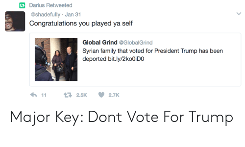major key: tDarius Retweetea  @shadefully Jan 31  Congratulations you played ya self  Global Grind @GlobalGrind  Syrian family that voted for President Trump has been  deported bit.ly/2koOiDO Major Key: Dont Vote For Trump