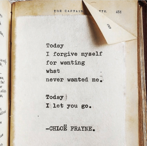 Today, Never, and Wanted: TE CAPTAIN  TTE  451  Today  I forgive myself  for wanting  what  never wanted me.  thuse  ner  Today  I let you go.  t  thberals  -CHLOE FRAYNE.  450
