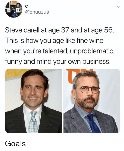 Funny, Goals, and Ironic: TEA  @chuuzus  Steve carell at age 37 and at age 56  This is how you age like fine wine  when you're talented, unproblematic,  funny and mind your own business Goals