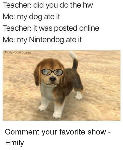 nintendogs: Teacher: did you do the hw  Me: my dog ate it  Teacher: it was posted online  Me: my Nintendog ate it  @hollywoodsquares Comment your favorite show -Emily