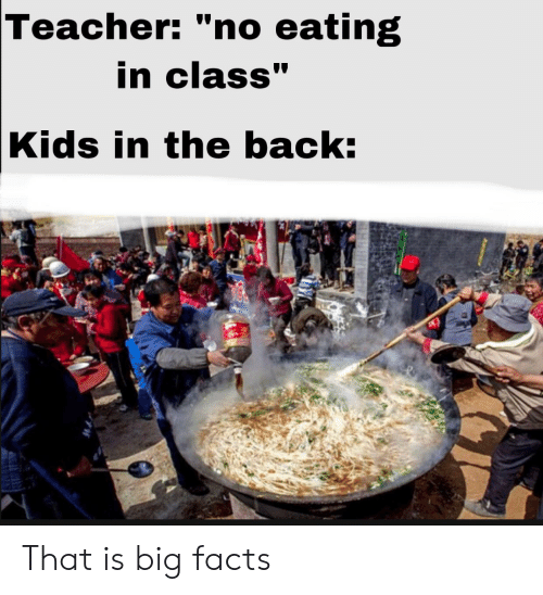 """Facts, Teacher, and Kids: Teacher: """"no eating  in class""""  Kids in the back: That is big facts"""