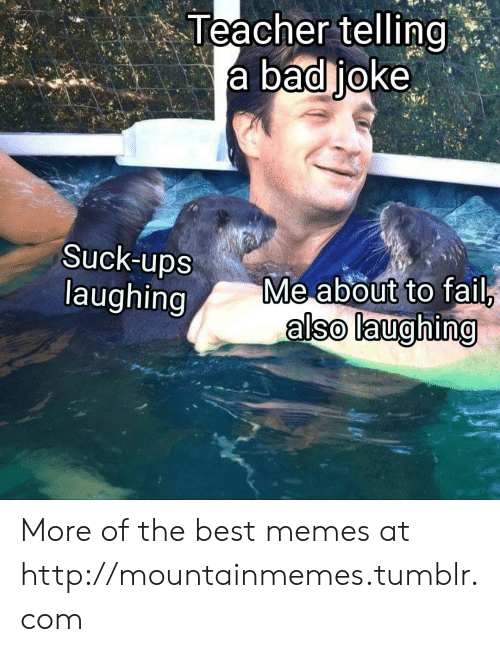 Bad, Fail, and Memes: Teacher telling  a bad joke  Suck-ups  laughing  Me about to fail,  also laughing More of the best memes at http://mountainmemes.tumblr.com