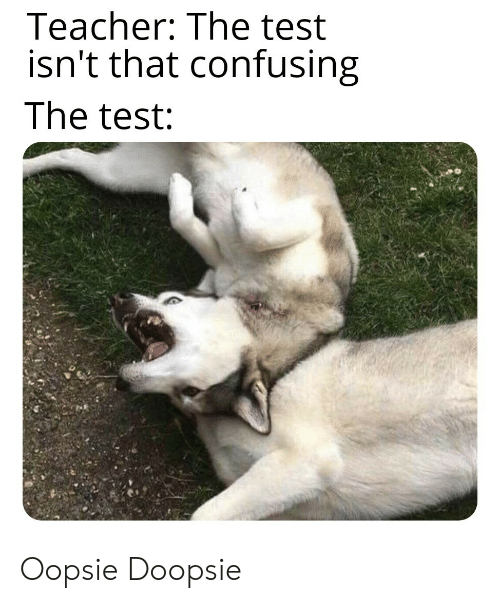 Teacher, Test, and Oopsie: Teacher: The test  isn't that confusing  The test: Oopsie Doopsie