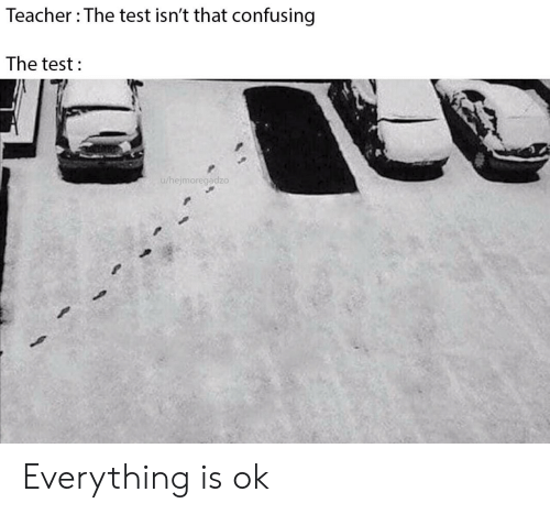 everything is ok: Teacher The test isn't that confusing  The test  u/hejmoregadzo Everything is ok
