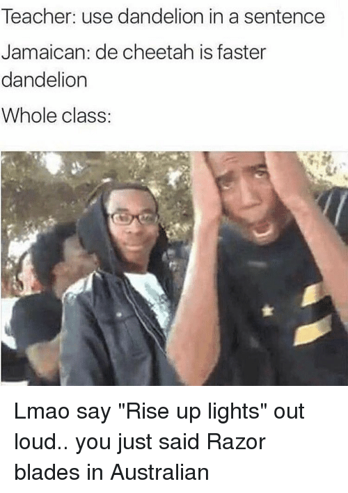 "Blade, Funny, and Cheetah: Teacher: use dandelion in a sentence  Jamaican: de cheetah is faster  dandelion  Whole class Lmao say ""Rise up lights"" out loud.. you just said Razor blades in Australian"