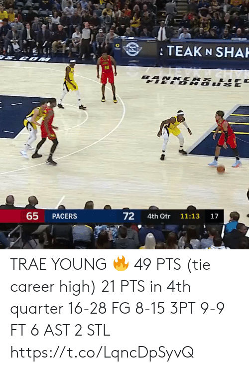 Memes, 🤖, and Com: TEAK N SHAH  COM  30  BANKERS LIF  FIEL DH  ர்  65  72  PACERS  4th Qtr  11:13  17 TRAE YOUNG 🔥  49 PTS (tie career high) 21 PTS in 4th quarter  16-28 FG 8-15 3PT 9-9 FT 6 AST 2 STL    https://t.co/LqncDpSyvQ