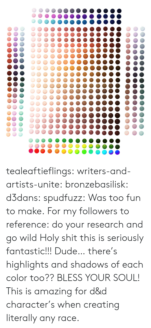 unite: tealeaftieflings: writers-and-artists-unite:  bronzebasilisk:  d3dans:  spudfuzz:  Was too fun to make.  For my followers to reference: do your research and go wild  Holy shit this is seriously fantastic!!!  Dude… there's highlights and shadows of each color too?? BLESS YOUR SOUL!   This is amazing for d&d character's when creating literally any race.