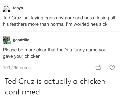 Funny, Ted, and Ted Cruz: tebya  Ted Cruz isnt laying eggs anymore and hes a losing all  his feathers more than normal I'm worried hes sick  goodzillo  Please be more clear that that's a funny name you  gave your chicken  103,295 notes Ted Cruz is actually a chicken confirmed