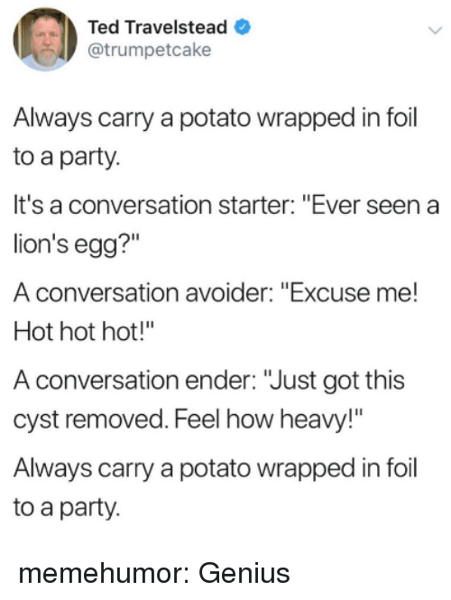"Party, Ted, and Tumblr: Ted Travelstead  @trumpetcake  Always carry a potato wrapped in foil  to a party.  It's a conversation starter: ""Ever seen a  lion's egg?""  A conversation avoider: ""Excuse me!  Hot hot hot!""  A conversation ender: ""Just got this  cyst removed. Feel how heavy!""  Always carry a potato wrapped in foil  to a party memehumor:  Genius"