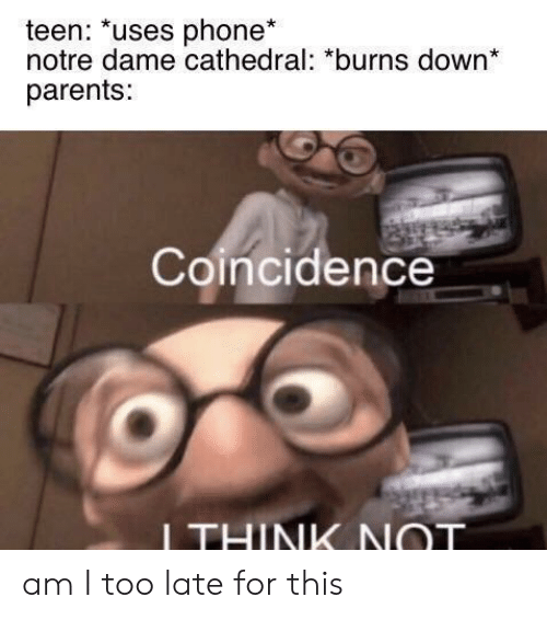 Notre Dame: teen: *uses phone*  notre dame cathedral: *burns down*  parents:  Coincidence  ITHINK NOT am I too late for this