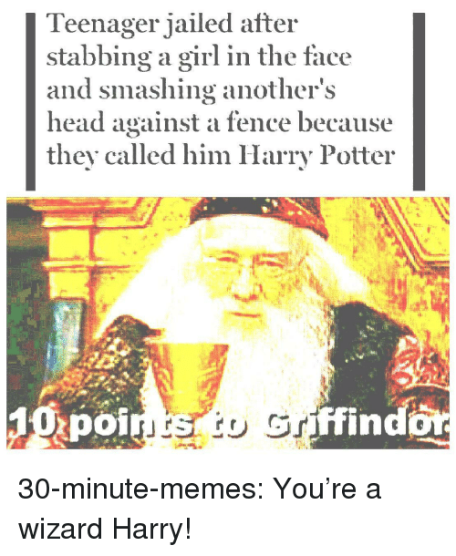 smashing: Teenager jailed after  stabbing a girl in the face  and smashing anothers  head against a fence because  they called him Harry Potter  poi  ffind 30-minute-memes:  You're a wizard Harry!