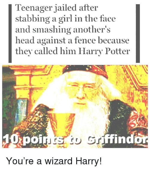 smashing: Teenager jailed after  stabbing a girl in the face  and smashing anothers  head against a fence because  they called him Harry Potter  poi  ffind You're a wizard Harry!