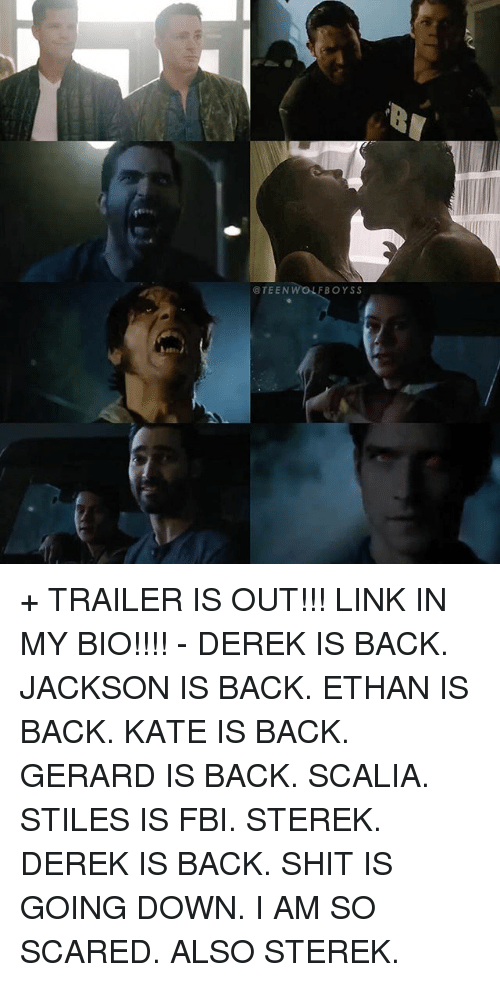 scalia: @TEENW  FBOYSS + TRAILER IS OUT!!! LINK IN MY BIO!!!! - DEREK IS BACK. JACKSON IS BACK. ETHAN IS BACK. KATE IS BACK. GERARD IS BACK. SCALIA. STILES IS FBI. STEREK. DEREK IS BACK. SHIT IS GOING DOWN. I AM SO SCARED. ALSO STEREK.