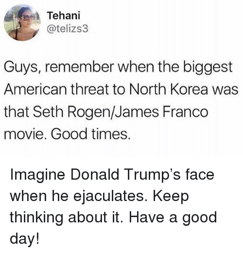 Donald Trump, James Franco, and Memes: Tehani  @telizs3  Guys, remember when the biggest  American threat to North Korea was  that Seth Rogen/James Franco  movie. Good times. Imagine Donald Trump's face when he ejaculates. Keep thinking about it. Have a good day!