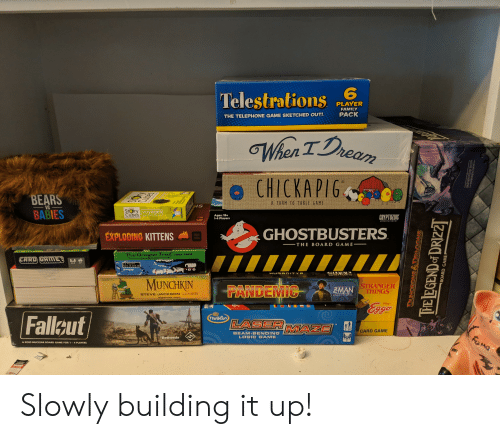 Family, Logic, and Oregon Trail: TelestratiR  PLAYER  FAMILY  THE TELEPHONE GAME SKETCHED OUT!  PACK  BEARS  BABIES  A FARM IO TABEE GAME  VS  IS  Stry  Cubes  voyages  Ages: 15+  1-4 Players  CRYPTOZOIC  EXPLODING KITTENS  GHOSTBUSTERS  THE BOARD GAME  The Oregon Trail CARD Gam  2-4 8+  ges 12 and Up  부부  MUNCHKIN  STRANGER  MAN THINGS  STEVE JACKSON GAMES  sigames.com  Falleut  Thinkfun  LASER MAZE  CARD GAME  BEAM-BENDING  LOGIC GAME  A POST-NUCLEAR BOARD GAME FOR 1-4 PLAYERS Slowly building it up!