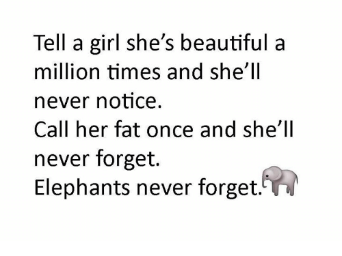 Beautiful, Memes, and Girl: Tell a girl she's beautiful a  million times and she'll  never notice  Call her fat once and she'll  never forget.  Elephants never forget.