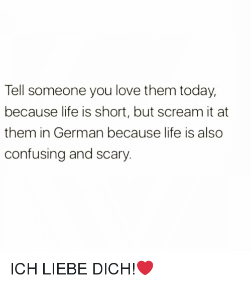 Funny, Life, and Love: Tell someone you love them today,  because life is short, but scream it at  them in German because life is also  confusing and scary ICH LIEBE DICH!❤️
