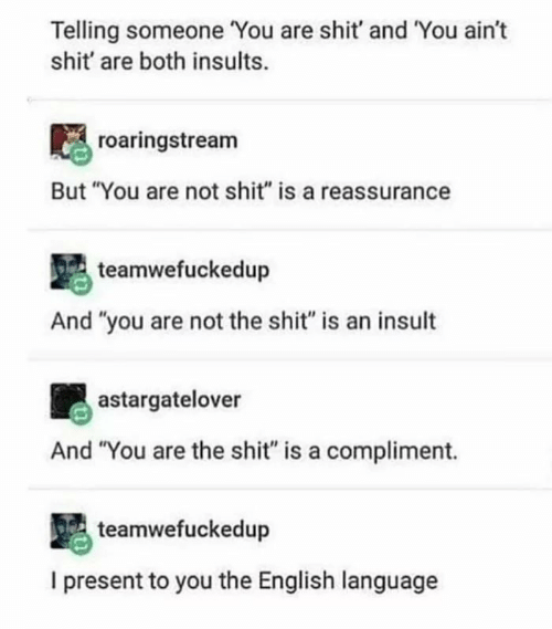 "Insults: Telling someone You are shit' and You ain't  shit' are both insults.  roaringstream  But ""You are not shit"" is a reassurance  teamwefuckedup  And ""you are not the shit"" is an insult  astargatelover  And ""You are the shit"" is a compliment.  teamwefuckedup  I present to you the English language"