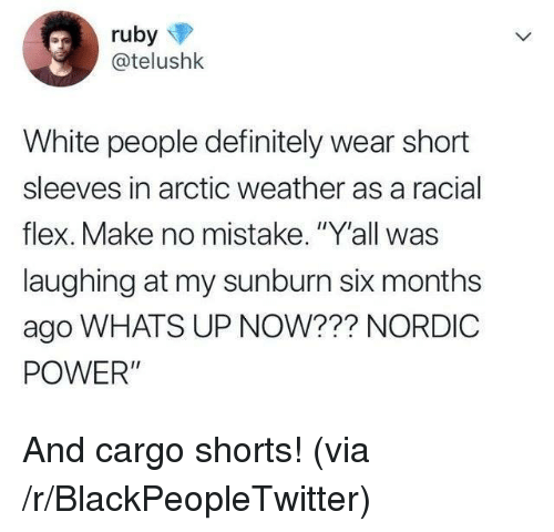 "Blackpeopletwitter, Definitely, and Flexing: @telushk  White people definitely wear short  sleeves in arctic weather as a racial  flex. Make no mistake. ""Y'all was  laughing at my sunburn six months  ago WHATS UP NOW??? NORDIC  POWER"" And cargo shorts! (via /r/BlackPeopleTwitter)"