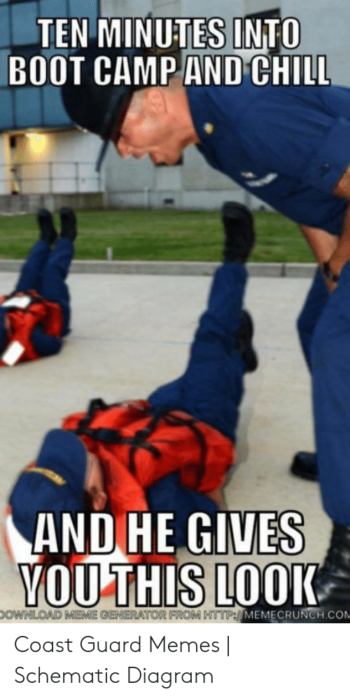 Funny Coast Guard: TEN MINUTES INTO  BOOT CAMP AND CHILL  AND HE GIVES  VOU THIS LOOK  OWNLOAD MEME GENERATOR FROM HTTP://MEMECRUNCH.COM Coast Guard Memes | Schematic Diagram