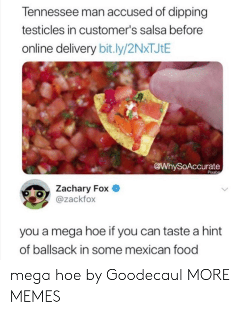 Dank, Food, and Hoe: Tennessee man accused of dipping  testicles in customer's salsa before  online delivery bit.ly/2NXTJIE  @WhySoAccurate  Pixaba  Zachary Fox  @zackfox  you a mega hoe if you can taste a hint  of ballsack in some mexican food mega hoe by Goodecaul MORE MEMES