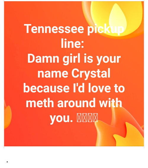Love, Girl, and Tennessee: Tennessee pick  line:  Damn girl is your  name Crystal  because I'd love to  meth around with  you. MKEE .