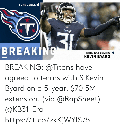Memes, Nfl, and Tennessee: TENNESSEE  (T.  NFL  TITANS  BREAKING  TITANS EXTENDING  KEVIN BYARD BREAKING: @Titans have agreed to terms with S Kevin Byard on a 5-year, $70.5M extension. (via @RapSheet) @KB31_Era https://t.co/zkKjWYfS75