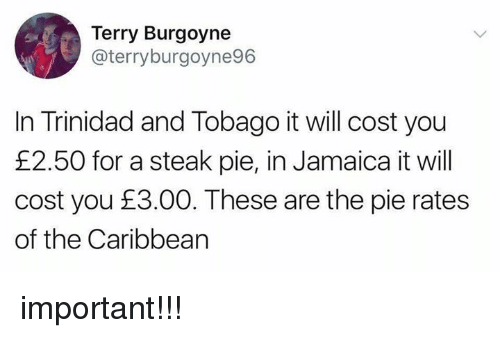 Pied: Terry Burgoyne  @terryburgoyne96  In Trinidad and Tobago it will cost you  £2.50 for a steak pie, in Jamaica it will  cost you £3.00. These are the pie rates  of the Caribbearn important!!!
