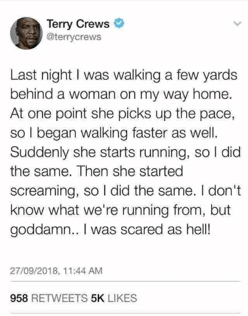 Terry Crews, Home, and Hell: Terry Crews  @terrycrews  Last night I was walking a few yards  behind a woman on my way home.  At one point she picks up the pace,  so I began walking faster as well  Suddenly she starts running, so I did  the same. Then she started  screaming, so I did the same. I don't  know what we're running from, but  goddamn.. I was scared as hell!  27/09/2018, 11:44 AM  958 RETWEETS 5K LIKES