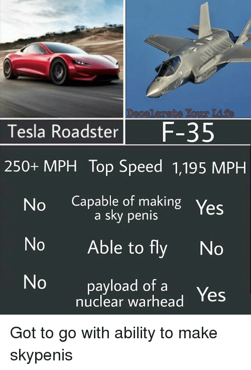 Memes, Penis, and Ability: Tesla RoadsterF-35  250+ MPH Top Speed 1,195 MPH  No Capable of making Yes  a sky penis  No Able to fly No  No payload of a  nuclear warhead Yes Got to go with ability to make skypenis