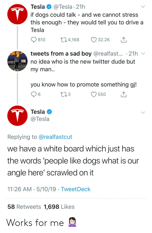 angle: Tesla  @Tesla 21h  T  if dogs could talk - and we cannot stress  this enough they would tell you to drive a  Tesla  t1.4,168  32.2K  810  tweets from a sad boy @realfast... .21h  no idea who is the new twitter dude but  my man..  you know how to promote something gj!  tl3  550  T  Tesla  @Tesla  Replying to @realfastcut  we have a white board which just has  the words 'people like dogs what is  angle here' scrawled on it  11:26 AM 5/10/19 TweetDeck  58 Retweets 1,698 Likes Works for me 🤷🏻♀️