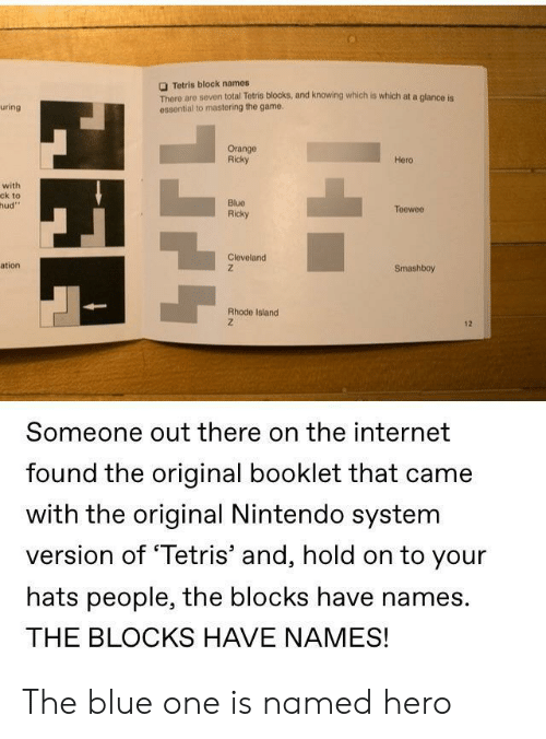 Tetris: Tetris block names  There are seven total Tetris blocks, and knowing which is which at a glance is  ossential to mastering the game  uring  Orange  Ricky  Hero  with  ck to  hud  Blue  Ricky  Teeweo  Cleveland  ation  Smashboy  Rhode Island  12  Someone out there on the internet  found the original booklet that came  with the original Nintendo system  version of 'Tetris' and, hold on to your  hats people, the blocks have names.  THE BLOCKS HAVE NAMES! The blue one is named hero