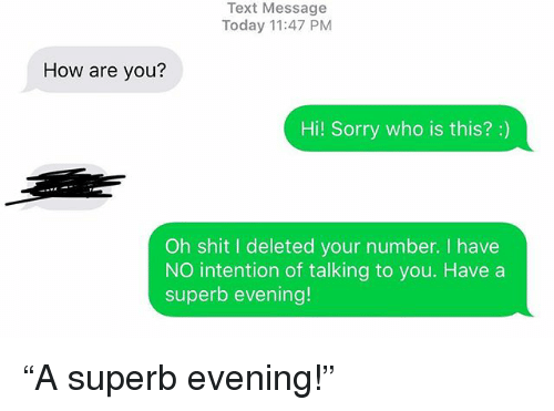 "Relationships, Shit, and Sorry: Text Message  Today 11:47 PM  How are you?  Hi! Sorry who is this?:)  Oh shit I deleted your number. I have  NO intention of talking to you. Have a  superb evening! ""A superb evening!"""