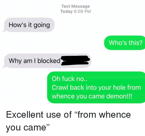 "Hows It Going: Text Message  Today 6:09 PM  How's it going  Who's this?  Why am I blocked  Oh fuck no..  Crawl back into your hole from  whence you came demon!!! Excellent use of ""from whence you came"""