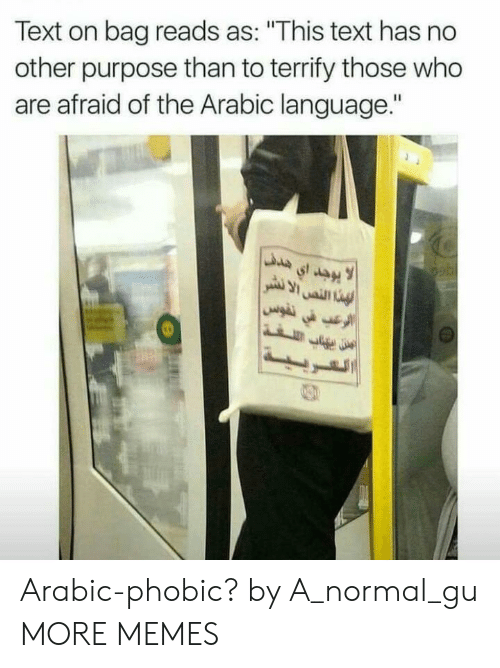"""Dank, Memes, and Target: Text on bag reads as: """"This text has no  other purpose than to terrify those who  are afraid of the Arabic language."""" Arabic-phobic? by A_normal_gu MORE MEMES"""