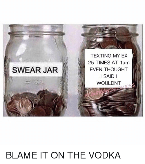 Texting, Vodka, and Girl Memes: TEXTING MY EX  25 TIMES AT 1am  EVEN THOUGH  I SAID I  WOULDNT  SWEAR JAR BLAME IT ON THE VODKA