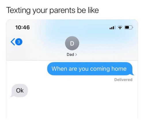 Be Like, Dad, and Funny: Texting your parents be like  10:46  3  Dad >  When are you coming home  Delivered  Ok