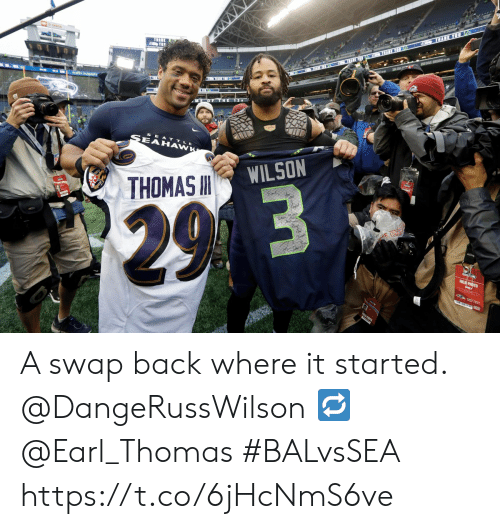 Memes, Back, and 🤖: THANE  AVE  10  AHAWK  WILSON  THOMAS  2.9 3  E O  FREL PHOTO  0037 A swap back where it started.  @DangeRussWilson 🔁 @Earl_Thomas  #BALvsSEA https://t.co/6jHcNmS6ve