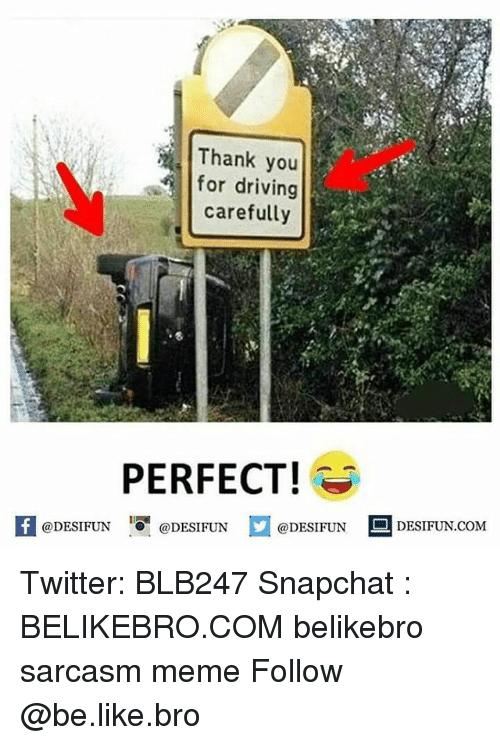 Be Like, Driving, and Meme: Thank you  for driving  carefully  PERFECT  feDESIFUNDESIFUNDESIFUN DESIFUN.CoM  @DESIFUN  @DESIFUN Twitter: BLB247 Snapchat : BELIKEBRO.COM belikebro sarcasm meme Follow @be.like.bro