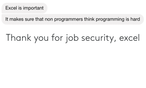 job: Thank you for job security, excel
