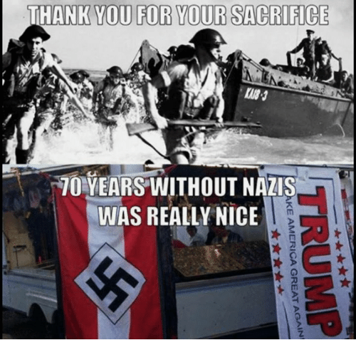 Thank You, Nice, and Sacrifice: THANK YOU FOR YOUR SACRIFICE  70-YEARS WITHOUT NAZIS  WAS REALLY NICE  2